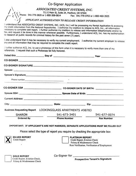 Application Form Rental Application Form With Cosigner Cosigner Contract Template