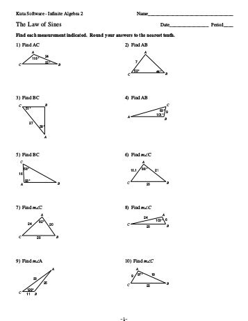 Of Cosines Practice Worksheet by Pictures Of Sines Worksheets Dropwin
