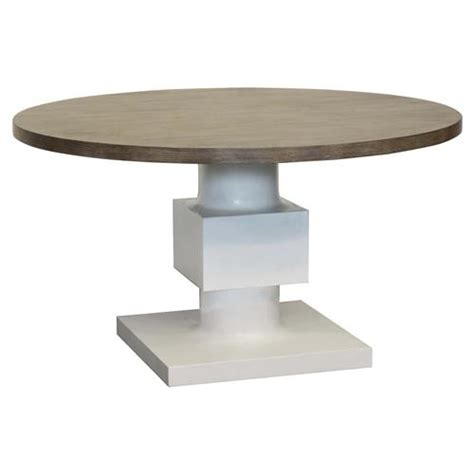 White Pedestal Dining Table by Leonara Coastal White Pedestal Rustic Wood Dining