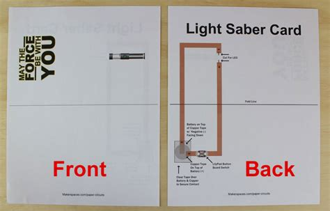 circuit card template makerspace project make a light saber using paper circuits