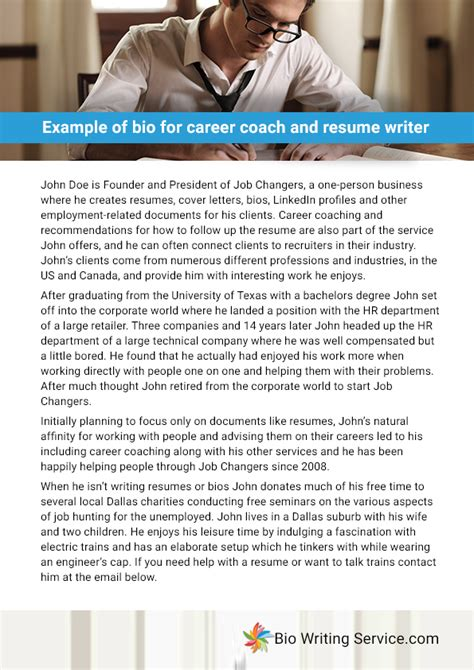 exle biography for ministers exle of bio for career coach and resume writer
