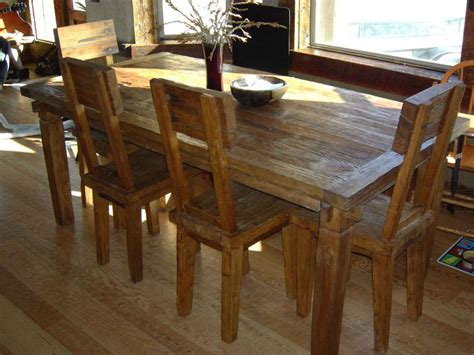Reclaimed Wood Dining Room Sets | reclaimed teak wood dining table and chairs set dining