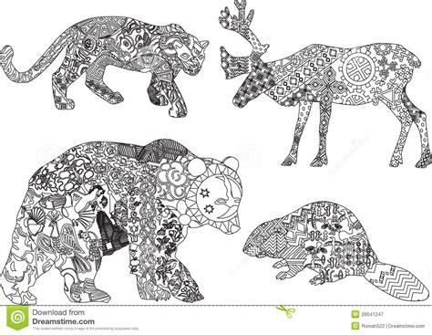 un insieme dei disegni degli animali nell etnico