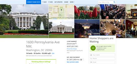 zillow values the white house at 397 7 million