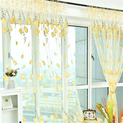 1 curtain panel per window decal door window curtain floral tulle voile drape panel