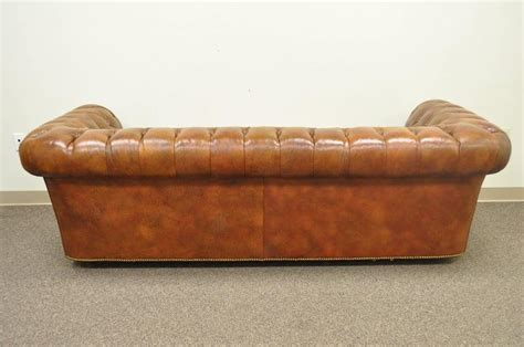 tufted rolled arm sofa henredon rolled arm style button tufted brown leather chesterfield sofa at 1stdibs