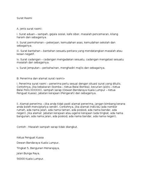 contoh format lop doc surat rasmi spm skema format contoh dan latihan