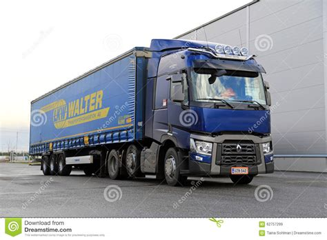 renault trucks t blue renault trucks t semi parked editorial stock image