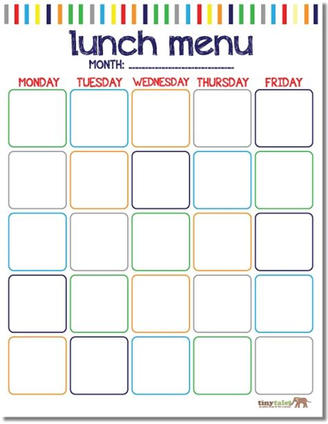 lunch calendar template free school lunch calendar printable printables