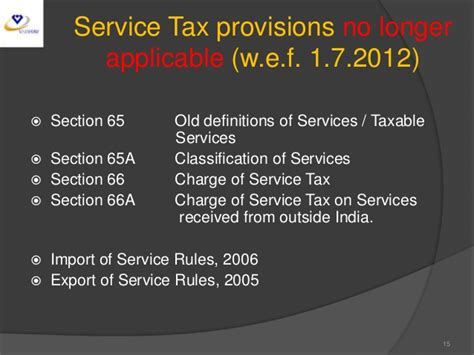 service tax sections list seminar on service tax at jaipur on 20 4 2013 session i