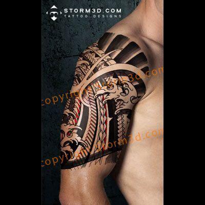 sleeve tattoo mockup shoulder digital japanese polynesian mix mockup digital