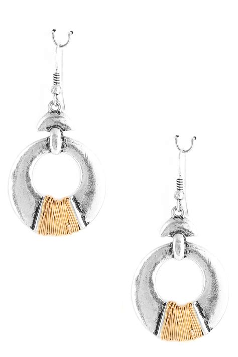 Metal Drop Hook Earrings hammered metal drop earrings