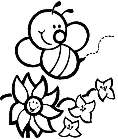 coloring pages of flowers and bees bee pictures cliparts co