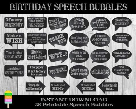 free printable photo booth props speech bubbles printable birthday speech bubbles large birthday photo