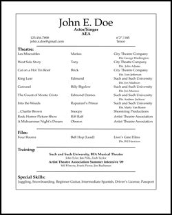actors resume format free acting resume sles and exles ace your