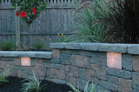 landscape lighting for retaining walls garden wall retaining wall lights station landscape masonry supply norton ma