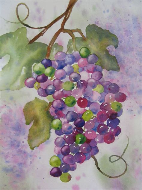watercolor grapes tutorial on the vine original watercolor painting of grapes via