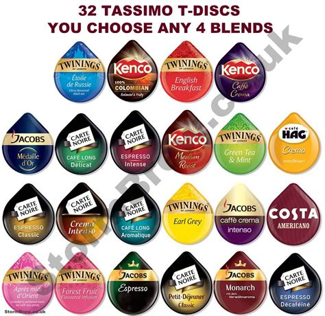 32 TASSIMO T DISCS   YOU CHOOSE ANY 4 BLENDS. inc. COFFEE, TEA, PODS, DISKS   eBay