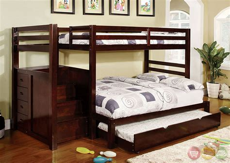 Bunk Beds With Drawers Built In Pineridge Walnut Bunk Bed W Built In Step Drawers