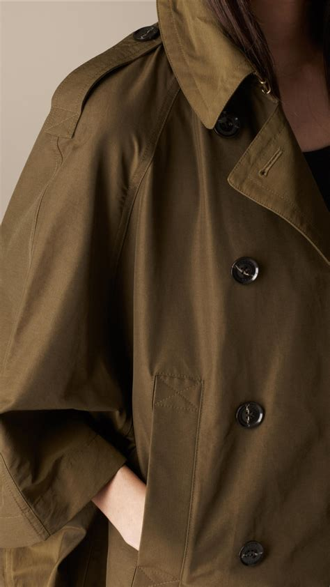 burberry swing coat burberry brit short swing cape trench coat in brown lyst