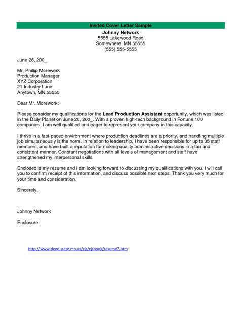 Cover Letter For Production Assistant exle cover letter production assistant television