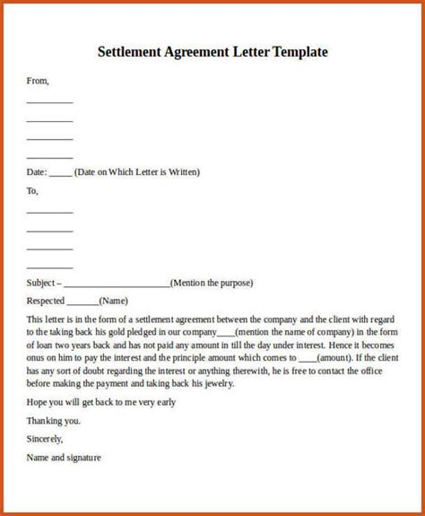 Letter Template Car Settlement Agreement Payment Agreement Letter Sop Exle