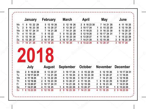 printable calendar 2018 pocket size calend 225 rio de bolso grade 2018 vetor de stock 169 orensila