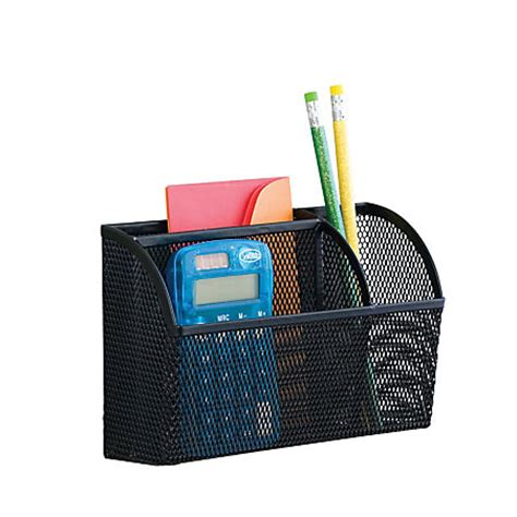 Magnetic Desk Organizer Neat Mesh Magnet Organizer 3 Compartments Large Black