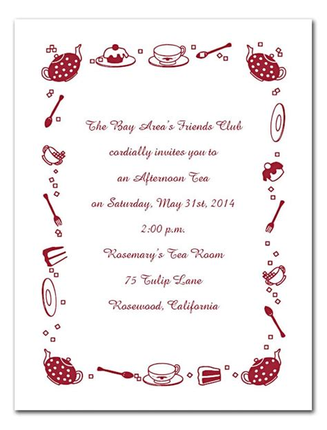 Afternoon Tea Invitation Template Free Afternoon Tea Menu Template