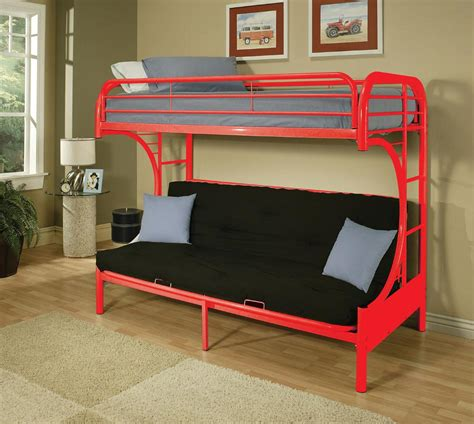 bunk beds with a futon on the bottom twin on top and futon on the bottom making it the perfect