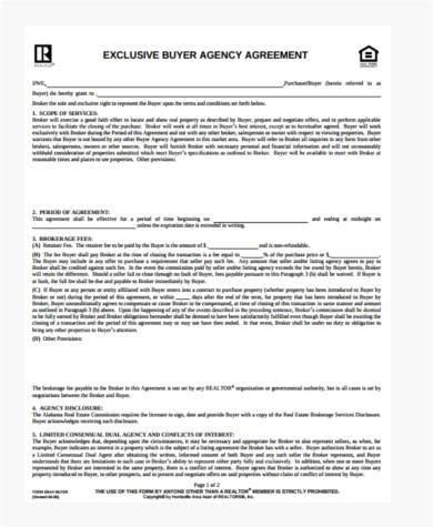 Sle Exclusive Agency Agreement Forms 8 Free Documents In Word Pdf Exclusive Agency Agreement Template