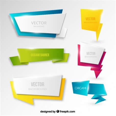 Origami Style - banners in origami style vector free