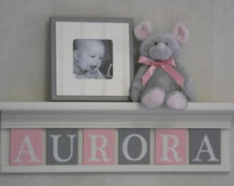 name letters blocks pink gray nursery decor baby name