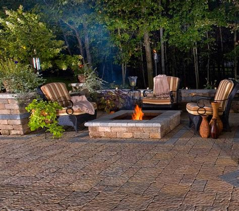 Best Outdoor Firepit Rustic Modern Backyard House Design With Floor Tiles And Square Outdoor Pit In The
