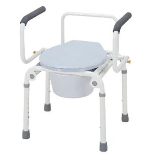 Drop Arm Commode Chair by Merits Drop Arm Steel Commode Chair 300 Lb Weight Capacity