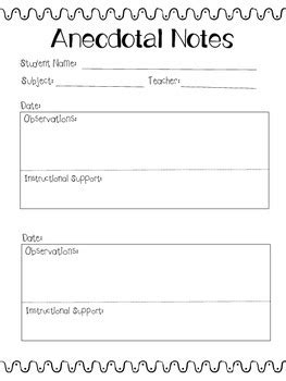 Anecdotal Template by Anecdotal Notes Template By Keeling Teachers Pay