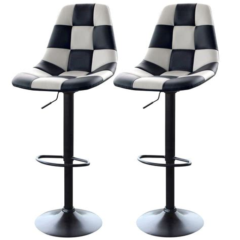 Black And White Bar Stool Amerihome Adjustable Height White Black Swivel Cushioned Bar Stool Set Of 2 800609 The Home