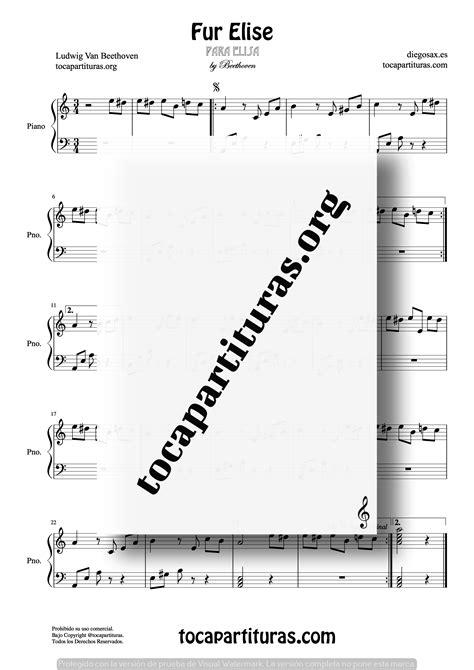 Para Elisa Partitura de Piano (Fur Elise) - Tienda Online