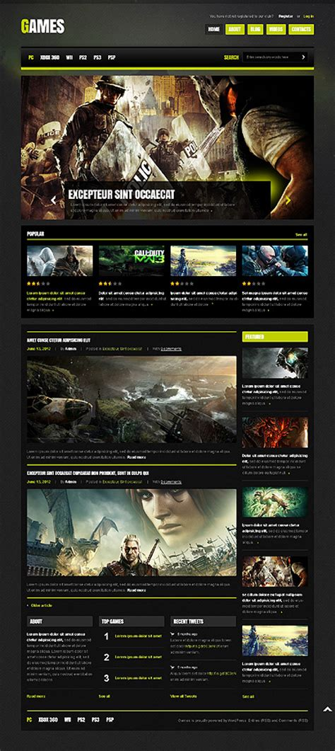top 10 themes of games top 10 wordpress themes for a video game website