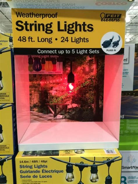 feit electric string lights costco feit electric 48 ft string lights outdoor weatherproof