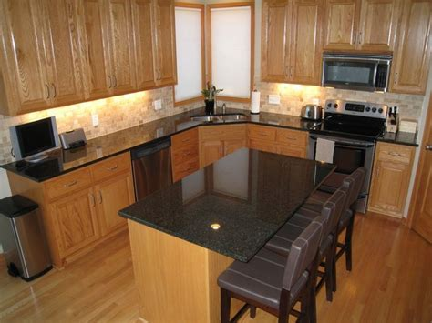 grey countertops with oak cabinets search
