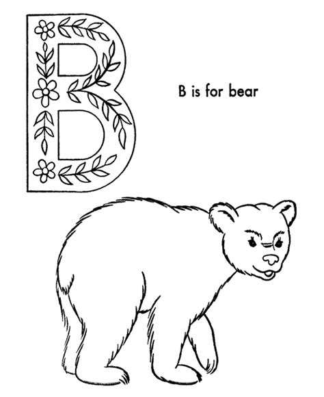 b bear coloring page letter b coloring page coloring home
