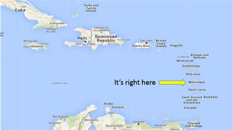 on map the american s guide to martinique dave s travel corner