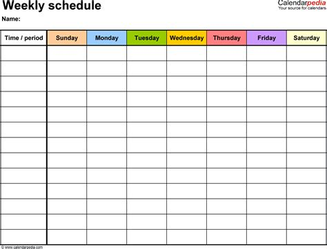 5 excel weekly schedule template ganttchart template