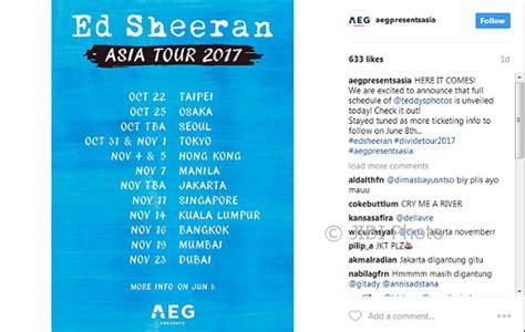 ed sheeran konser asia horeee ed sheeran gelar konser di indonesia hiburan