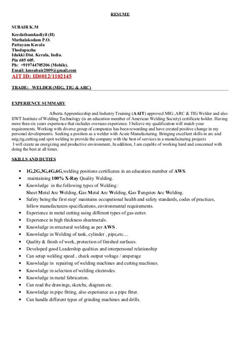 Tig Welder Sle Resume by Tig Welder Sle Resume 28 Images Tig Welder Sle Resume Structural Welder Resume Sales Welder