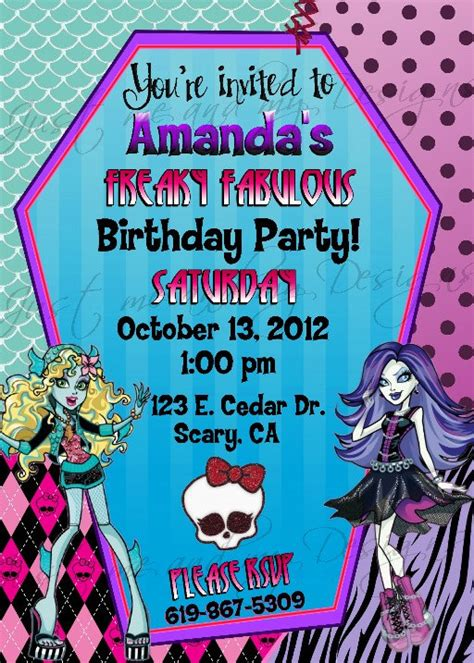 monster high printable party decorations monster high personalized printable birthday party invitation