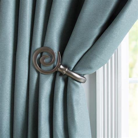 curtain holdbacks home depot lavish home spiral holdback pair in pewter 63 19541a p