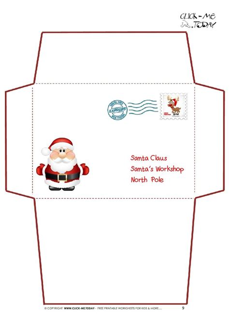 santa envelope template printable letter to santa claus envelope template