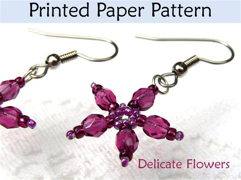 delicate flower earrings printed beading pattern by